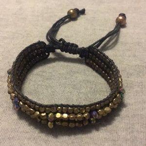 Gold and black beaded bracelet